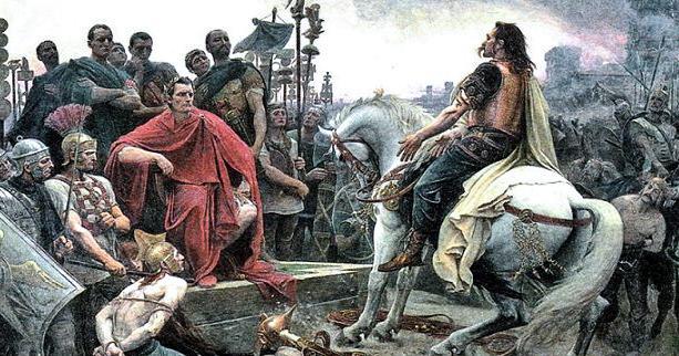 Галльский вождь Верцингеторикс сдается Юлию Цезарю после битвы при Алезии (52 г. до н.э.)