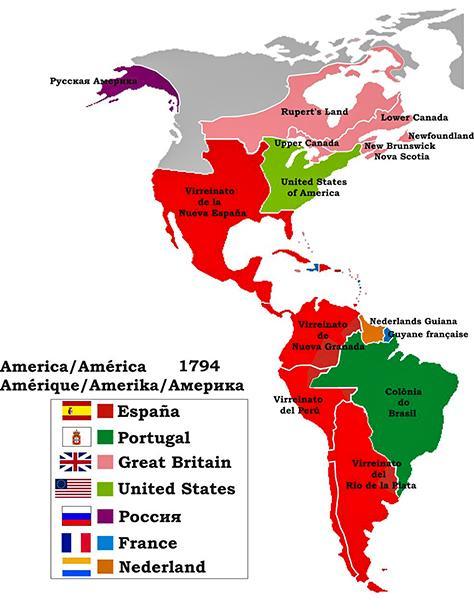 Карта европейской колонизации Америки