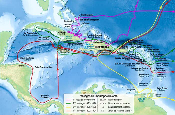 Карта путешествий Христофора Колумба