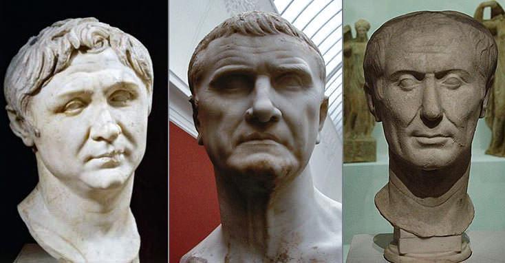 Первый Триумвират (слева направо) - Помпей, Красс и Юлий Цезарь