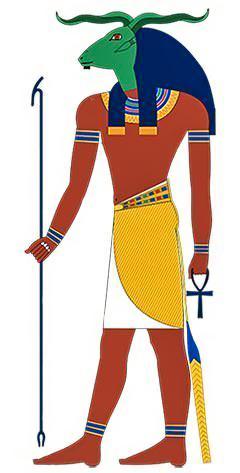 Портрет Бога Хнума с бараном на голове по мотивам картин Нового царства