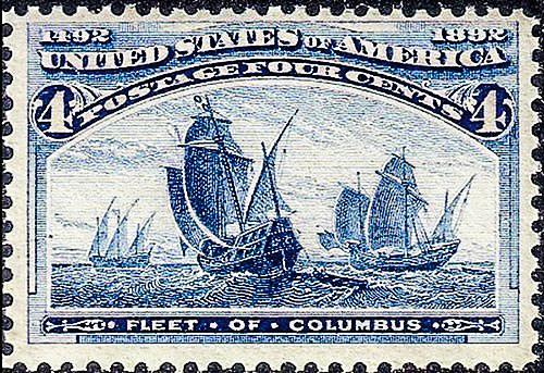 Почтовая марка США 1893 года с изображением флота Колумба