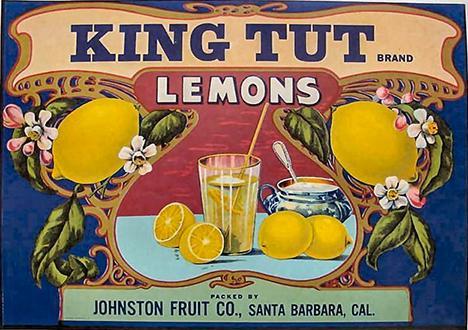 Реклама 1920-х годов для компании Johnston Fruit Company, Калифорния, для компании King Tut Brand Lemons