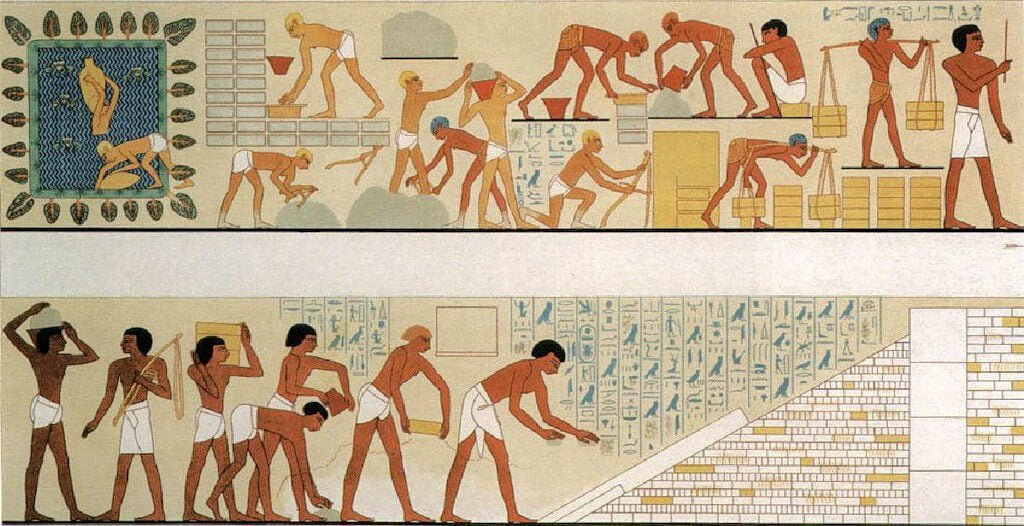 Строительство пирамиды на фресках Египта
