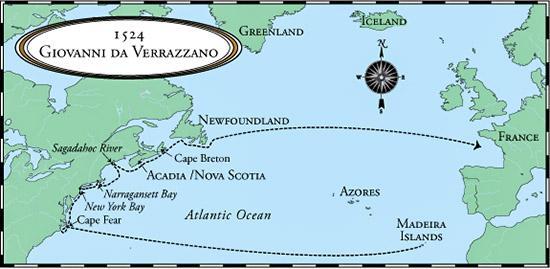 путешествие Верразано на карте