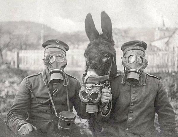 Солдаты в противогазах Первая мировая война