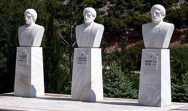 Бюсты Александра Македонского, Аристотеля и Филиппа II Македонского