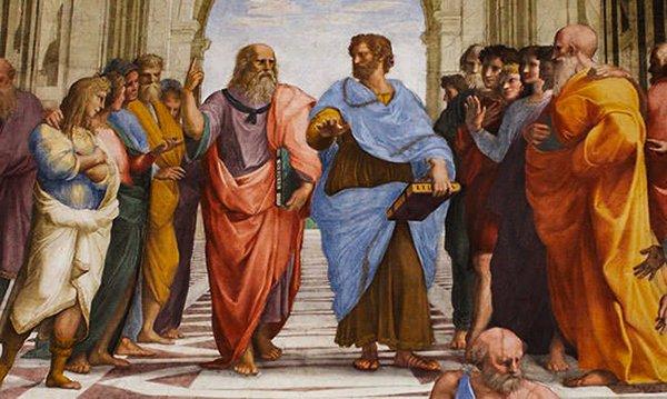 """Аристотель (справа) и Платон (слева) в знаменитой картине Рафаэля """"Афинская школа"""""""