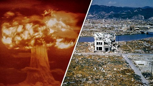 Взрыв атомной бомбы, сброшенной на Хиросиму