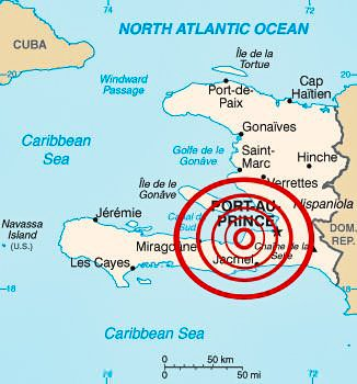 Эпицентр землетрясения на Гаити 2010 года