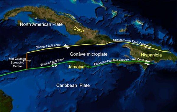 Карта, показывающая региональную тектоническую обстановку зоны разлома сада Энрикильо-Подорожника