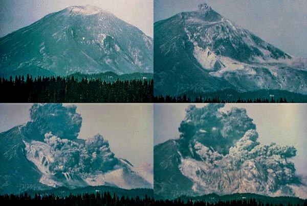Серия фотографий мощного оползня на горе Святой Елены 18 мая 1980 года