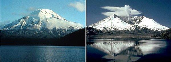 гора Святой Елены до и после извержения вулкана