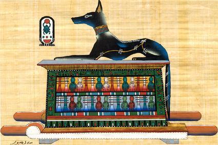 Анубис на саркофаге Тутанхамона