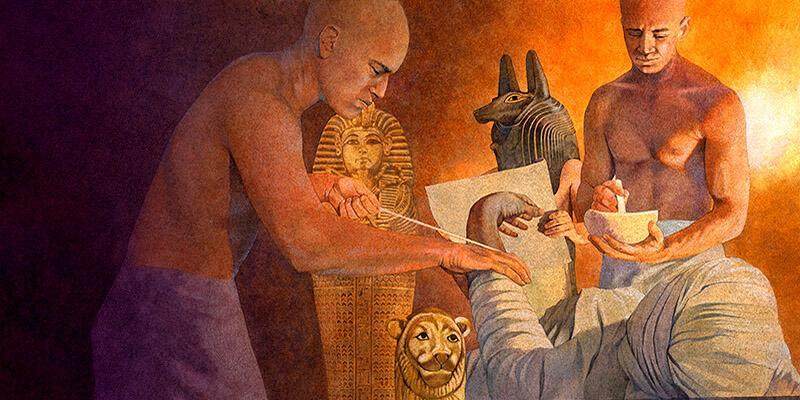 обертывание полосками белья при мумификации