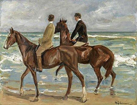 """""""Два всадника на пляже"""" импрессионизм"""