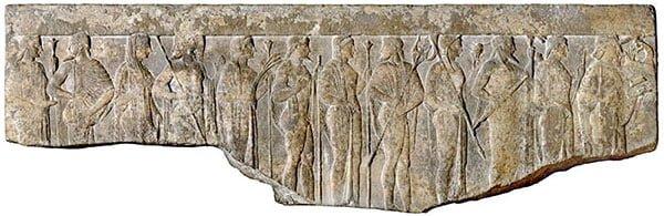 Фрагмент эллинистического рельефа с изображением двенадцати олимпийцев Гера греческая богиня