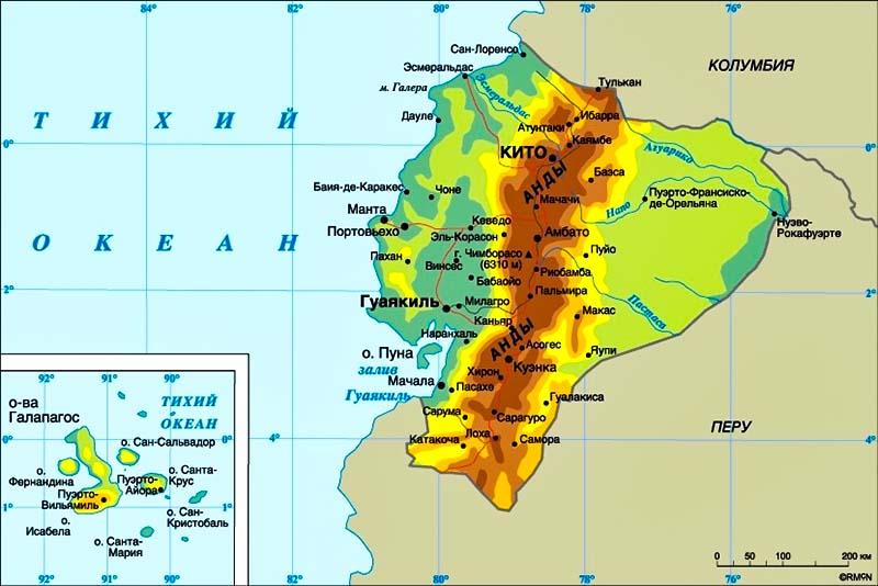 Эквадор и Галапагосские острова на карте мира