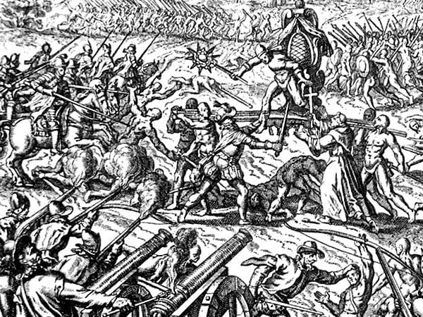 Гравюра битвы при Кахамарке