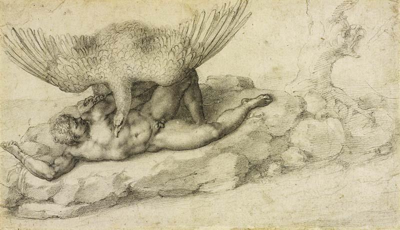 Наказание Титя (1532) - рисунок, созданный Микеланджело для Томмазо деи Кавальери