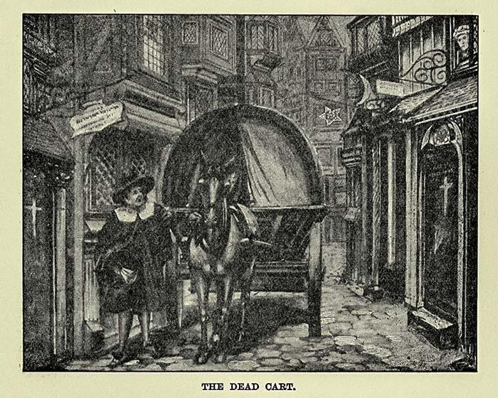 Старинная гравюра. Телега смерти, собирающая тела погибших во время Великой чумы в Лондоне