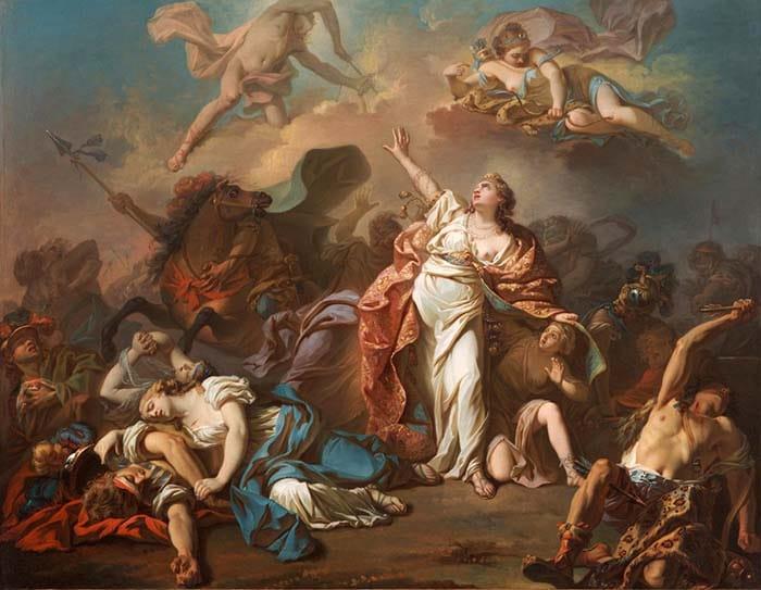 Аполлон и Диана нападают на детей Ниобе (1772) - Жак-Луи Давид Артемида