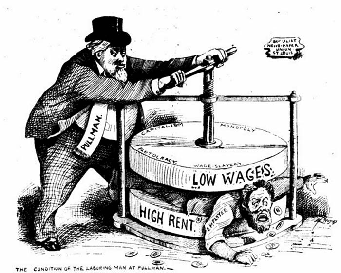 Карикатура с изображением капиталиста промышленной революции