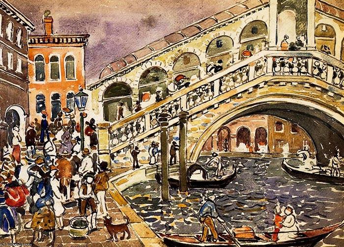 "Картина Мориса Прендергаста ""Риальто и мост"" 1912 года"