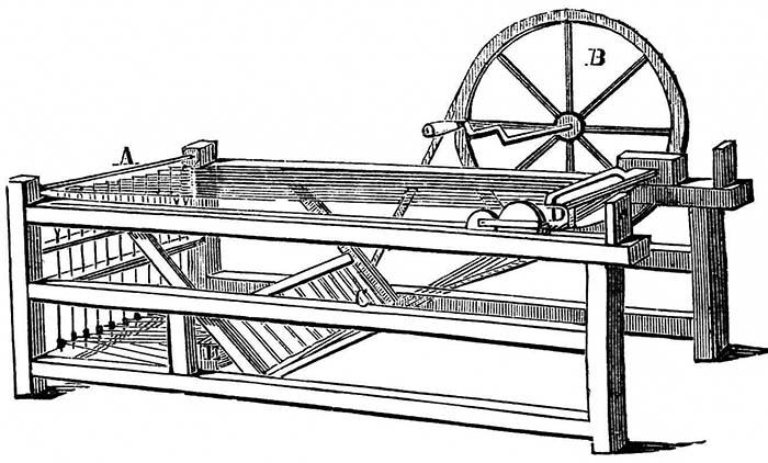 Улучшенный прядильный станок, использовавшийся на текстильных фабриках