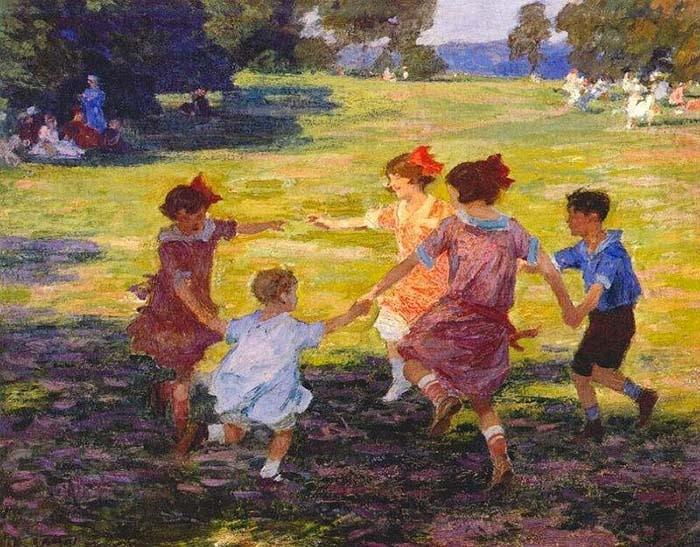 Изображение детей, играющих в Ring Around the Rosie