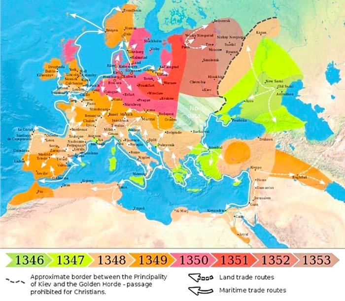 Карта, показывающая распространение Бубонной Чумы в Европе между 1346 и 1353 гг. бубонная чума