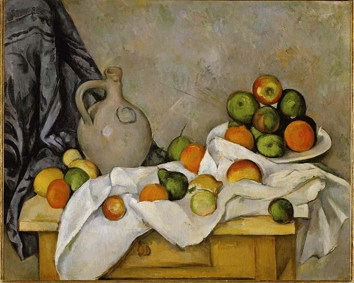 Кувшин, занавес и ваза с фруктами Поля Сезанна Постимпрессионистские художники