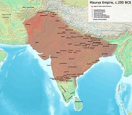 Максимальная территориальная протяженность империи Маурьев при Ашоке
