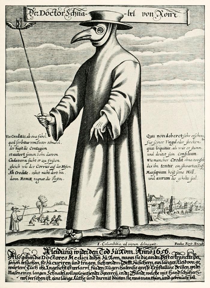 Медная гравюра доктора Шнабеля, чумного доктора в 17 веке в Риме