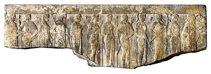Фрагмент эллинистического рельефа с изображением двенадцати олимпийцев