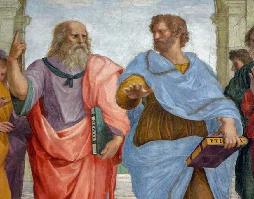 Платон (слева) и Аристотель (справа) в знаменитой афинской школе живописи Рафаэля.