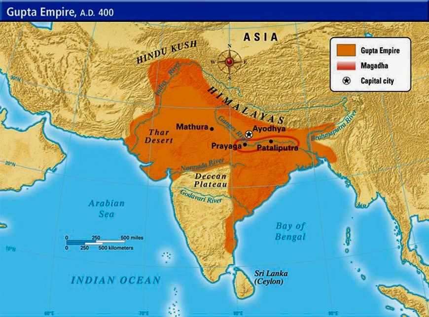 Максимальный размах Империи Гупта во время Чандрагупта Викрамадитья